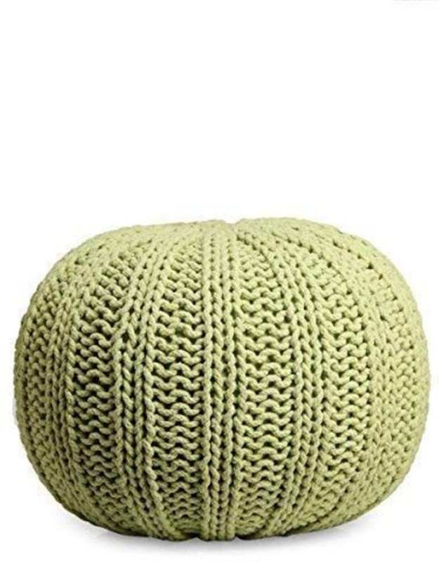 ShopyBucket Hand Knitted Pouf/Ottoman/Foot Stool for Bedroom, Living Room 15x15x14inches Stool(Green)