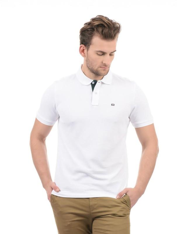 Arrow Solid Men Polo Neck White T-Shirt