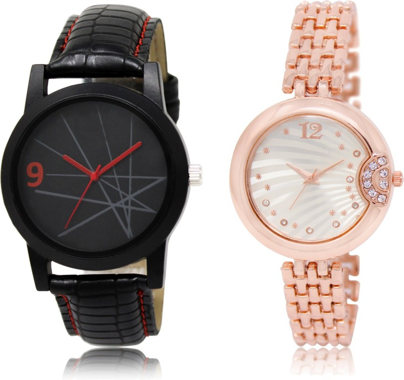 FASHION POOL NEW ARRIVAL FAST SELLING ROUND ANALOG DIAL '' BLACK & ROSE GOLD'' COUPLE COMBO WATCH. METAL & LEATHER BELT NEW ARRIVAL FAST SELLING TRACK DESIGNER WATCH FOR FESTIVAL_PARTY_PROFESSIONAL_VALENTINE_BIRTHDAY GIFT SPECIAL COMBO WATCH FOR MEN_WOMEN Watch - For Women