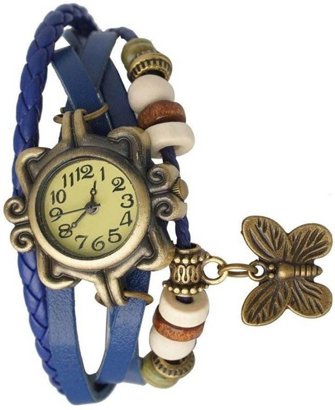 indicare blue color butterfly dory type wrist watch for girl leather belt party and function special gift watch Analog Watch - For Girls