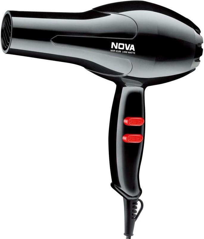 Nova Silky Shine 1400 W Hot And Cold NHP 8106 Hair Dryer(1400 W, Black)