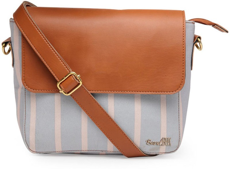 Band Box Blue, Brown, White Sling Bag