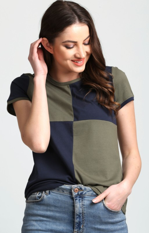 Aelomart Casual Short Sleeve Color Blocked Women Light Green, Blue Top