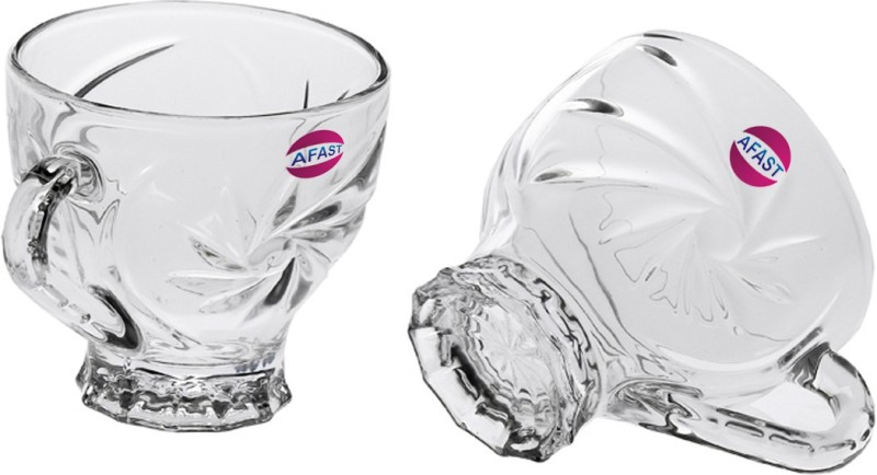 Afast New Design & Style Glass Tea Cup Set Of 2-Cp40 Glass(Clear, Pack of 2)