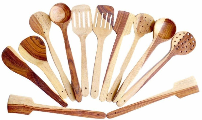 CloudNet India SpatulaM12 mango Wood Spatula / Ladle / Kitchen Tool set Multicolor Kitchen Tool Set(Multicolor)