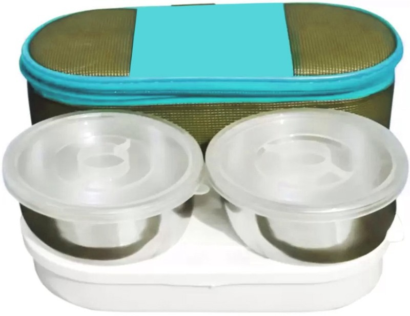 LIFEMUSIC school, office Stainless Steel Insulated Lunch Box Set for Office Men, Women, School Kids with Bag Cover   Air Tight 3 Containers Lunch Box(800 ml)