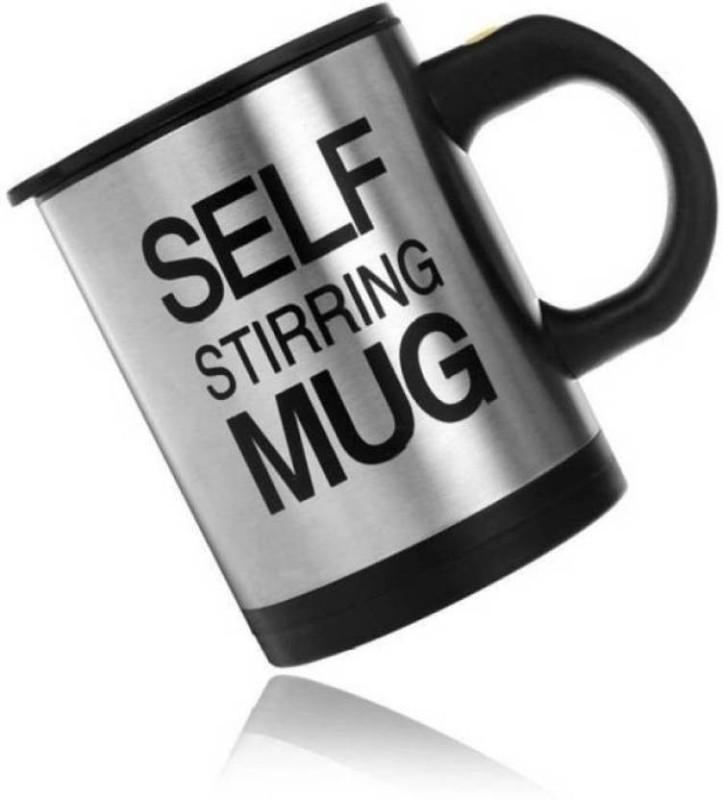 VINAYAK CoffeeMug-6 Stainless Coffee Mixing Cup (250 mL, colors may vary) Blender Self Stirring Stainless Steel (250 ml) Stainless Steel Mug (250 ml) Black Kitchen Tool Set(Black)