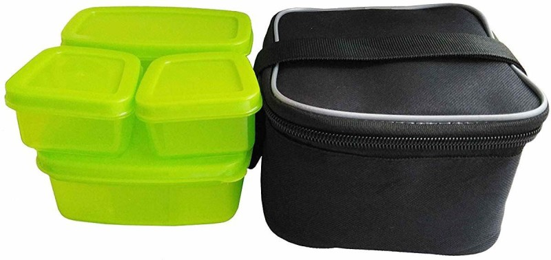 Honestystore Stackable tiffin with soft bag 840 ml Black Green 4 Containers Lunch Box (840 ml) 4 Containers Lunch Box(840 ml)