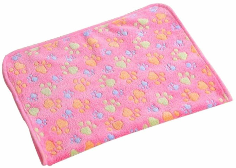 Futurekart Warm Cartoon Paw Print Cushion for Puppy Fleece Soft Blanket Bed Mat (Pink?Small) Cat, Dog Blanket(Cotton)