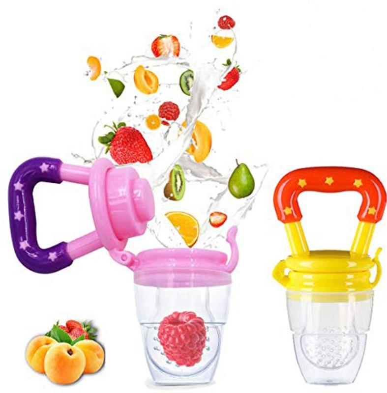 ae Silicone Baby fruit Feeder BPA Free Food Feeder Silicone Food Nibbler Food Feeder(Pink, Yellow)