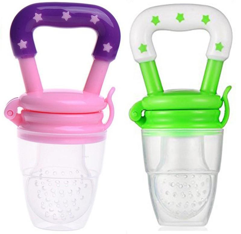 ae Silicone Baby fruit Feeder BPA Free Food Feeder Silicone Food Nibbler Food Feeder(Pink, Green)