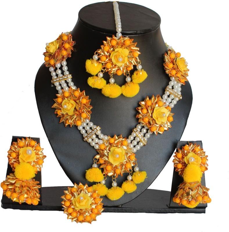 RAGABANDHA DESIGN STUDIO Fabric Jewel Set(Yellow, White, Orange)