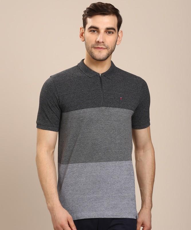 Louis Philippe Jeans Self Design Men Polo Neck Grey T-Shirt
