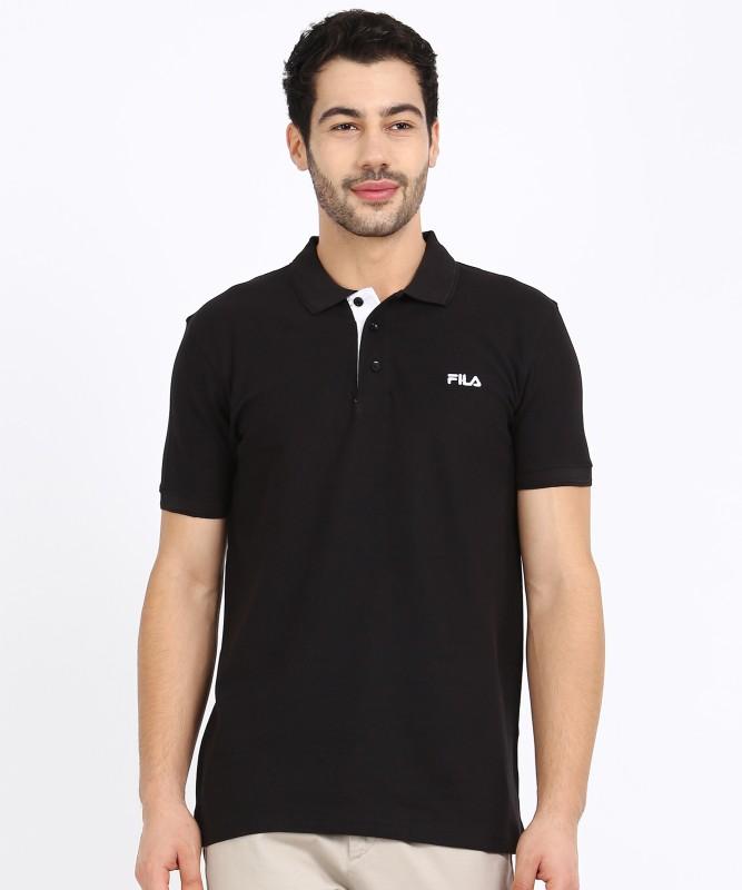 Fila Solid Men Polo Neck Black T-Shirt