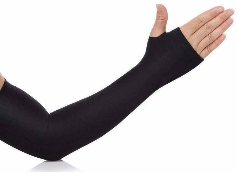 JMD Nylon, Cotton Arm Sleeve For Men & Women(Free, Black)