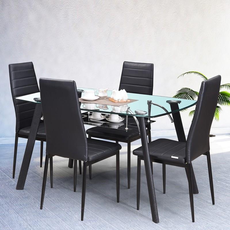 RoyalOak Poznan Metal 4 Seater Dining Set(Finish Color - Black)