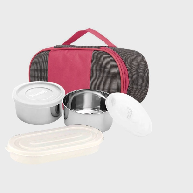 LIFEMUSIC school, office Lunch Box 2 + 1 Containers Lunch Box Stainless 3 Containers Lunch Box(750 ml)