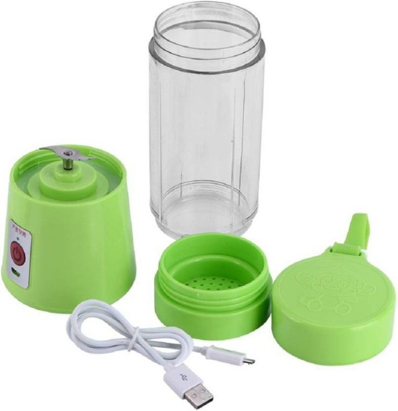 JK 2 USB Juicer Cup, Fruit Mixing Machine, Portable Personal Size Eletric Rechargeable Mixer Blender 1 Juicer(Green, 1 Jar)