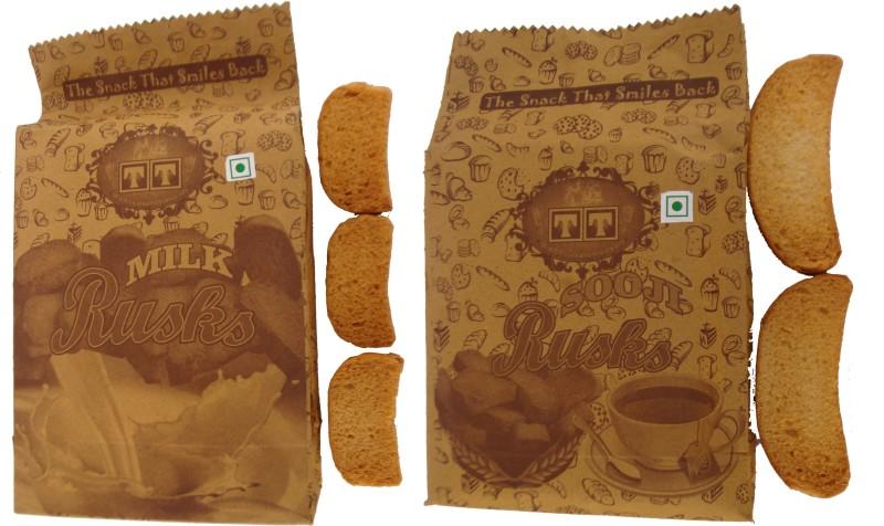 TT Handmade SOOJI RUSK AND MILK RUSK Cookies (PACK OF 16) NA flavored Sooji Rusk(16 x 312.5 g)