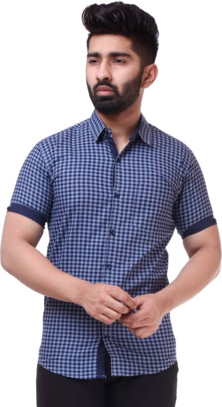 BASE 41 Men Checkered Casual Blue Shirt