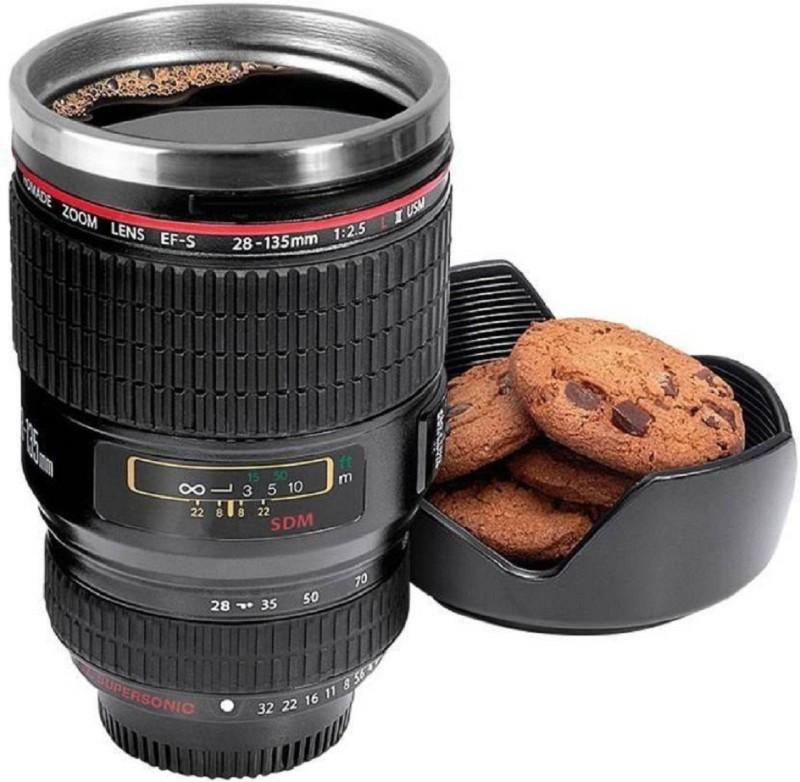SKYFISH Camera Lens Shape Cup Coffee Tea Stainless Steel Thermos & Lens Lid Stainless Steel Mug Self Heating Mug