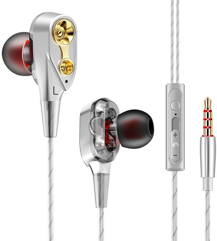Cellphonez Dual Driver Super Bass Reflex Amazing Quad Core Dual Speaker Wired Headset with Mic(Silver, In the Ear)
