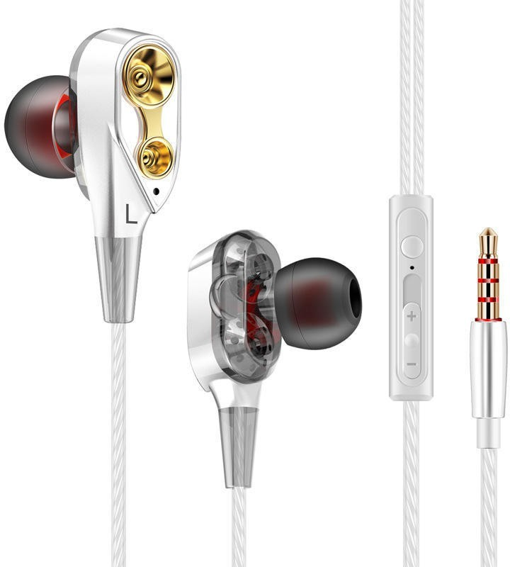 Cellphonez Dual Driver Super Bass Reflex Amazing Quad Core Dual Speaker Wired Headset with Mic(White, In the Ear)