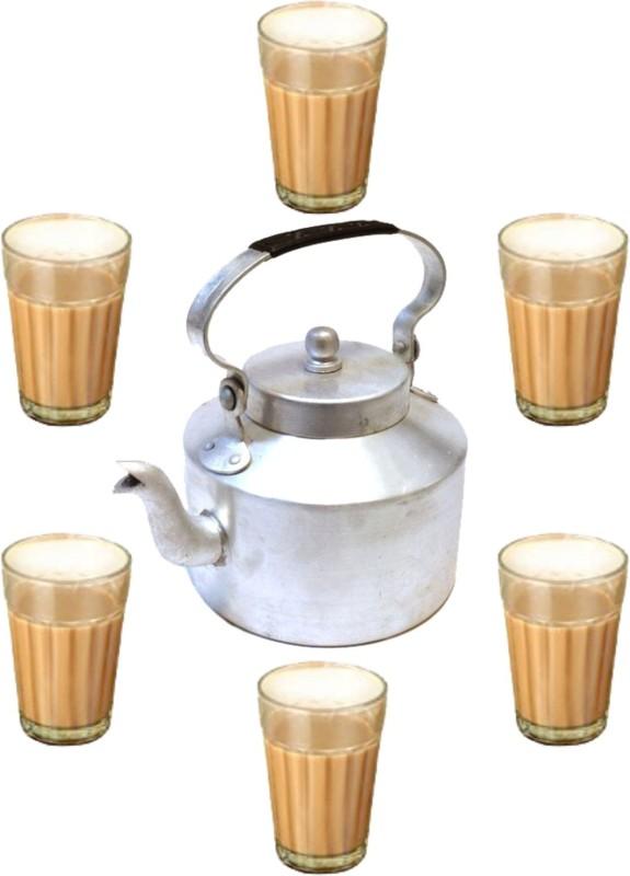 Pretail Traditional Cutting Chai/Tea Glasses with Kettle Set | Cutting Tea Glasses(100ml) Set of 6 with Kettle(1000ml) Tea Urn(1000 ml)
