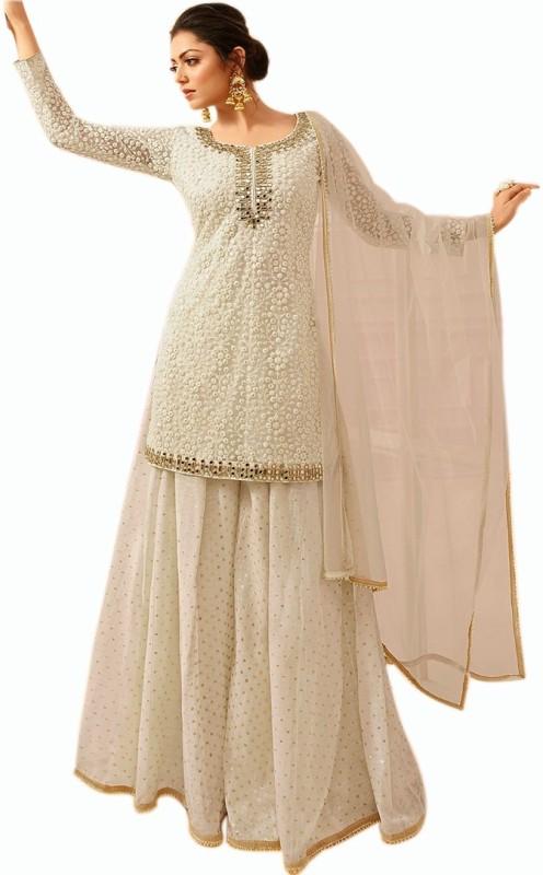 ETHNIC DESIRE Cotton Embroidered Kurta & Sharara Fabric(Semi Stitched)