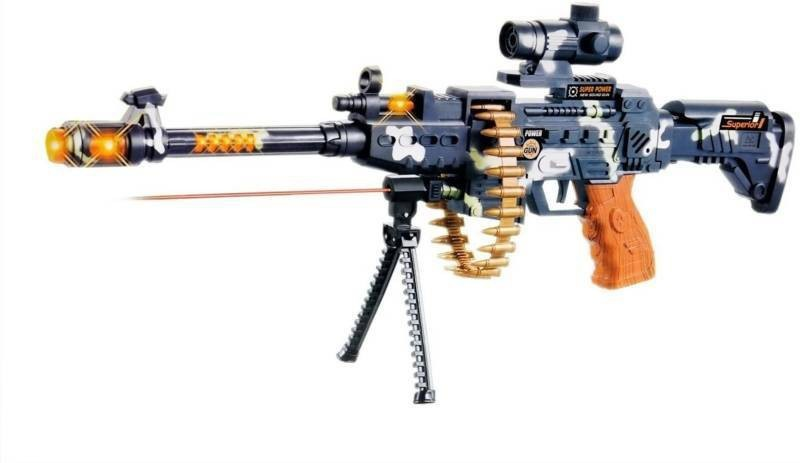 FTAFAT Musical Gun, Laser Light Range upto750 Meter, 360d Belt Rotation, Vibrations. Army Gun Toy(Brown)
