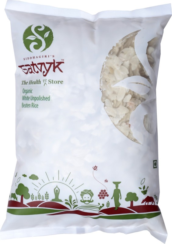 Satvyk Organic White Rice Poha 500g - Set of 03 (1.5 kg)(500 g, Pouch, Pack of 3)