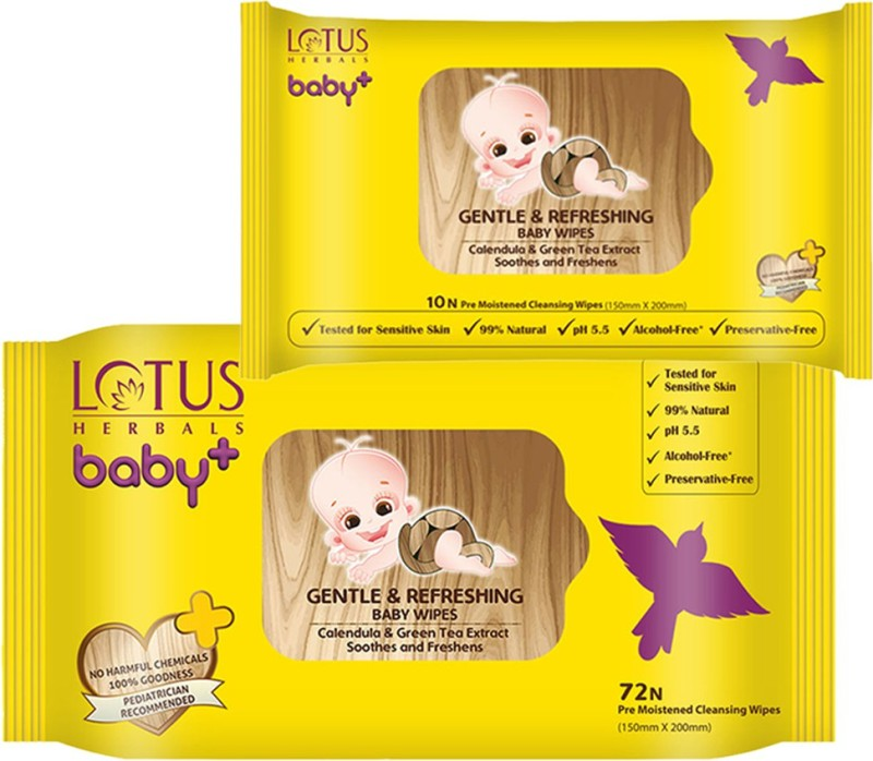 Lotus herbals Baby+ Gentle and Refreshing Baby Wipes (72 Count) & (10 Count) Combo Set(Set of 2)
