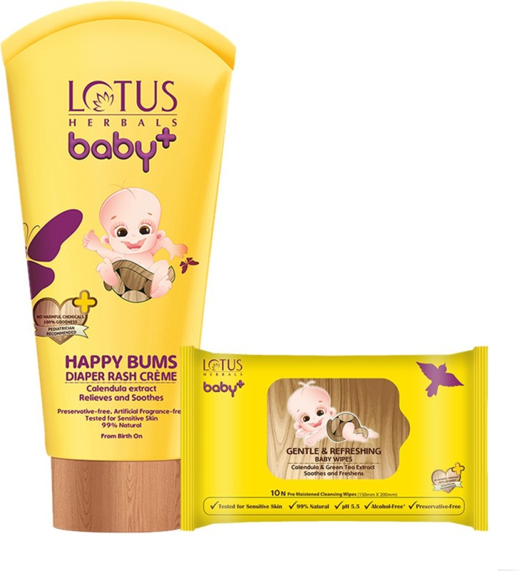 Lotus herbals Baby+ Happy Bums Diaper Rash Crme 100 gms & Gentle & Refreshing Baby Wipes 10 Count Combo Set(Set of 2)