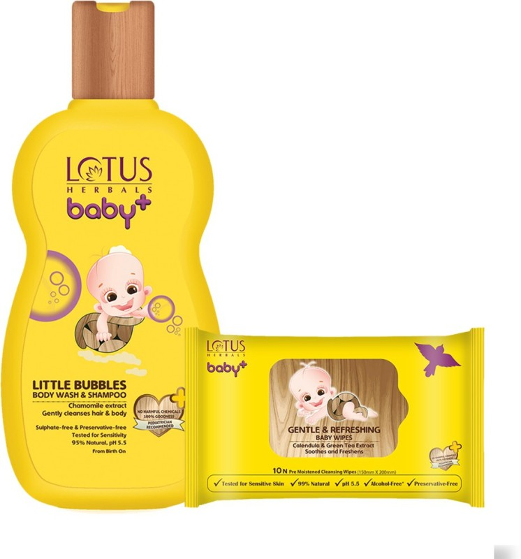 Lotus herbals Baby+ Little Bubbles Body Wash and Shampoo 200 ml & Gentle and Refreshing Wipes 10 Count Combo Set(Set of 2)