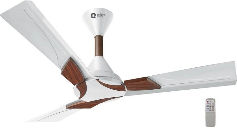 """Orient Electric WENDY 48"""" CEILING FAN, (WHITE) WITH REMOTE 1200 mm 3 Blade Ceiling Fan(PEARL WHITE WALNUT, Pack of 1)"""