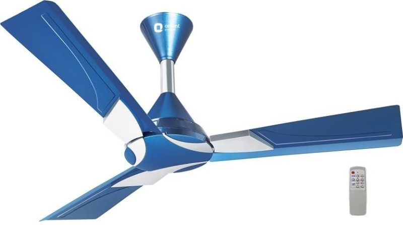 """Orient Electric WENDY 48"""" CEILING FAN, (BLUE) WITH REMOTE 1200 mm 3 Blade Ceiling Fan(AZURE BLUE SILVER, Pack of 1)"""