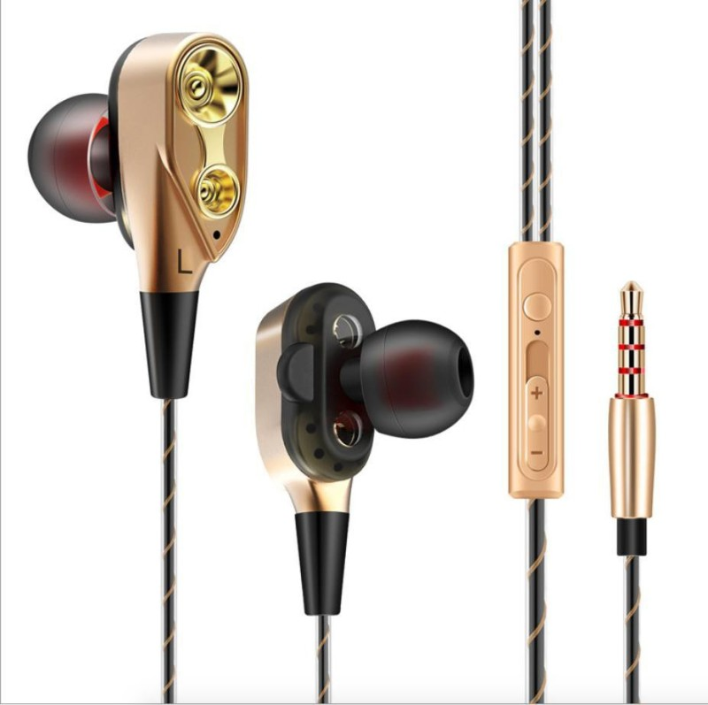 Cellphonez Dual Driver Super Bass Reflex Amazing Quad Core Dual Speaker Wired Headset with Mic(Golden, In the Ear)