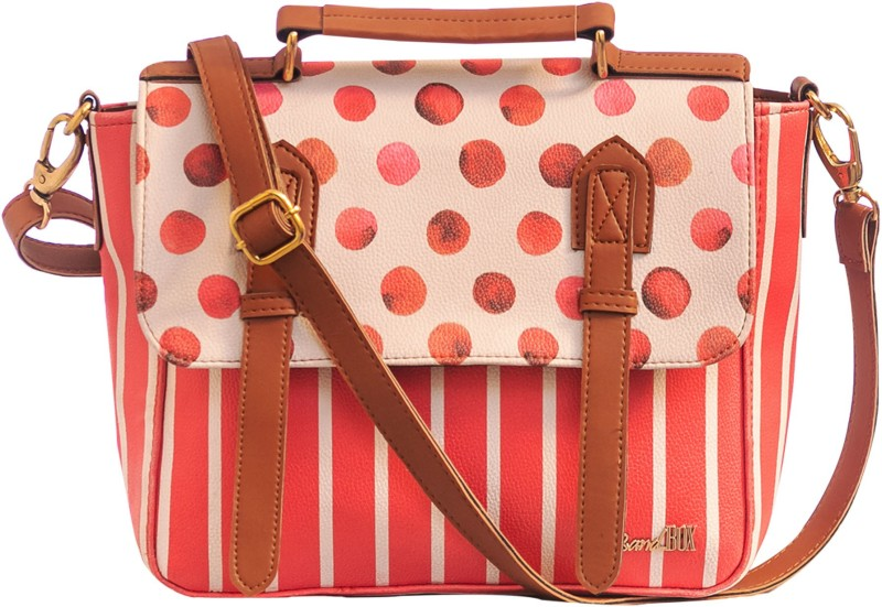 Band Box Red, White Satchel