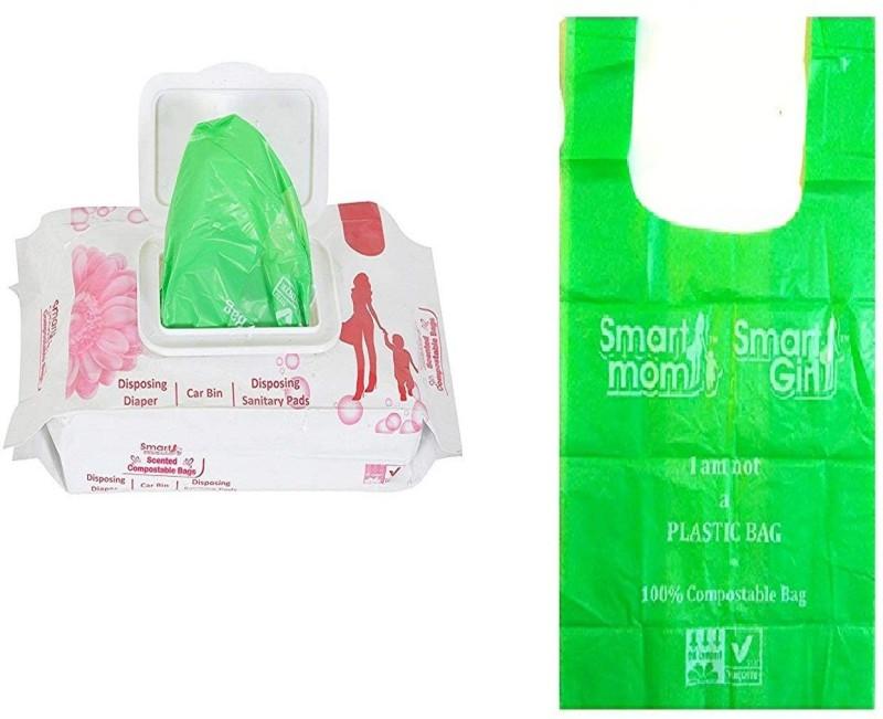 Kelemon Compostable Diaper Bags Sacks , Sanitary Pad Bags |100% Bio-Degradable | Scented | With controlled Handle Ties | Nappy Bags Diaper Disposal Bin(100)