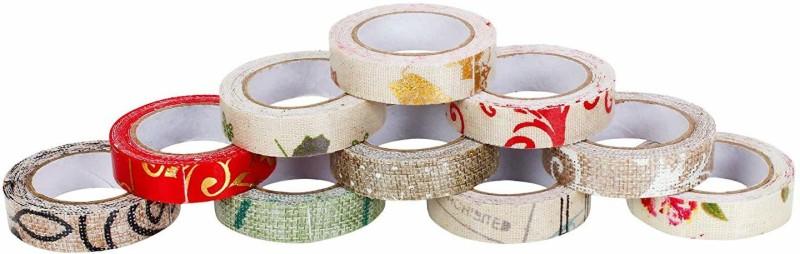 WonderKart DIY Decorative Jute Masking Washi Tape for Kids - Pack of 10 Tapes Drafting Tape(12.7 mm x 2 m)
