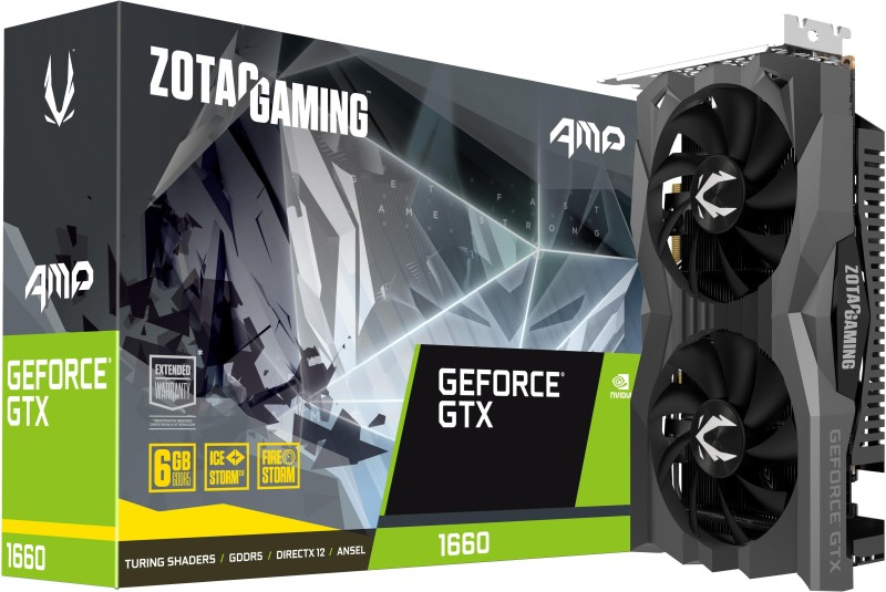 ZOTAC NVIDIA Gaming GeForce GTX 1660 AMP Edition 6 GB GDDR5 Graphics Card(Black, Grey)