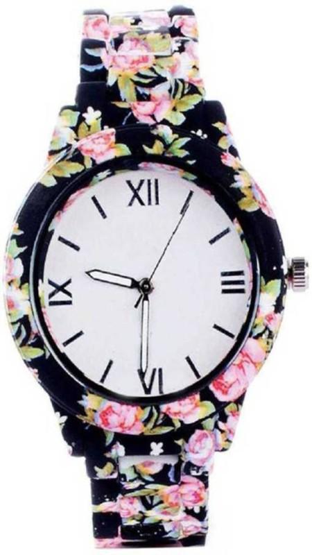 Konarkglobal Printed Full Black Beautiful Watch For Girl Analog Watch  - For Girls