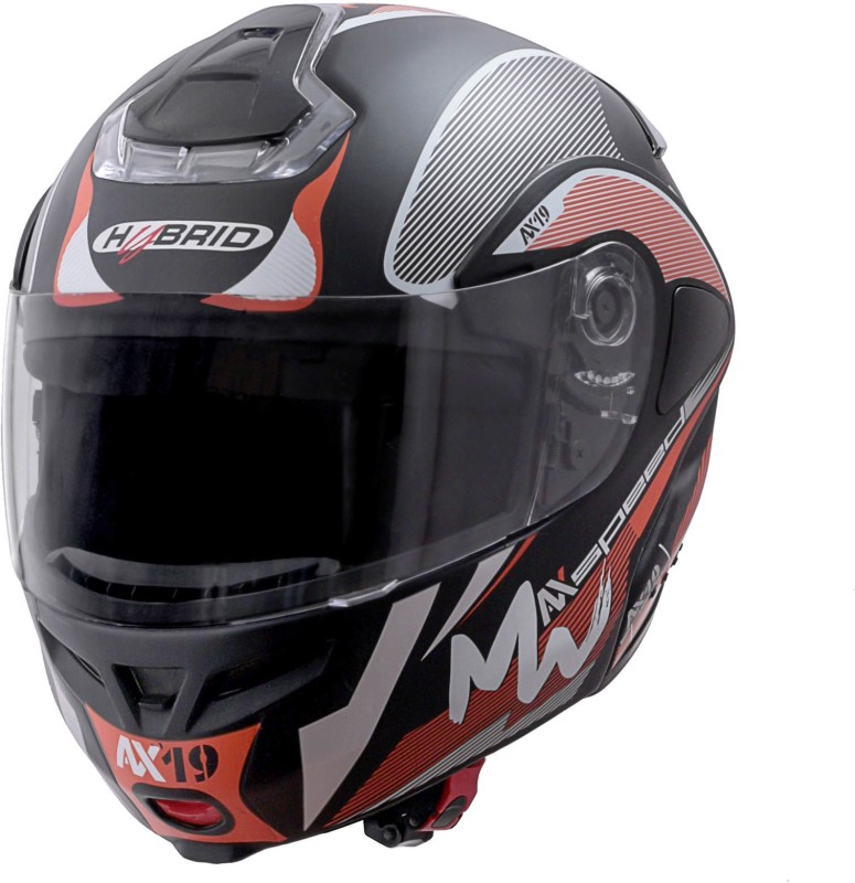 HEADFOX BLUETOOTH SMART Motorsports Helmet(Black & Orange, Black)