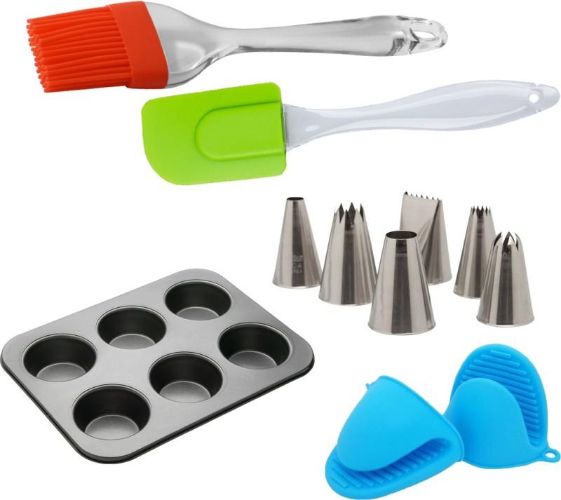 Perfect Pricee Muffin tray,brush Spatula,mitton gloves,cake nozzle Baking combo Multicolor Kitchen Tool Set(Multicolor)