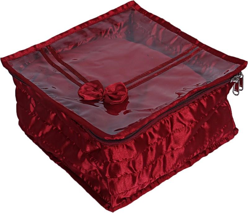 Kuber Industries Satin 1 Piece Handkerchief Lingerie Organizer (Maroon)-CTKTC5546 Bow Design Vanity Box(Maroon)