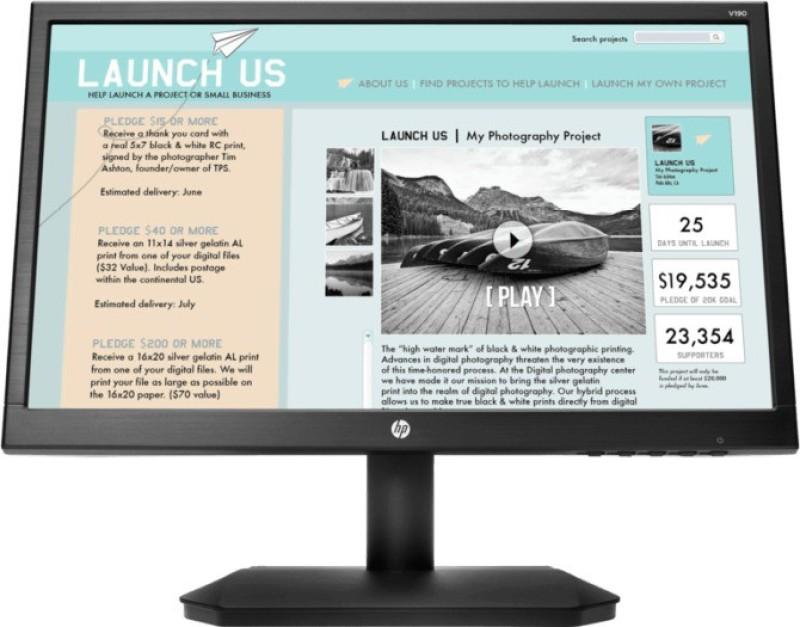 HP 18.5 inch Full HD LED Backlit Monitor (V190)(VGA)