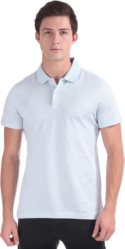 Arrow Solid Men Polo Neck Blue T-Shirt