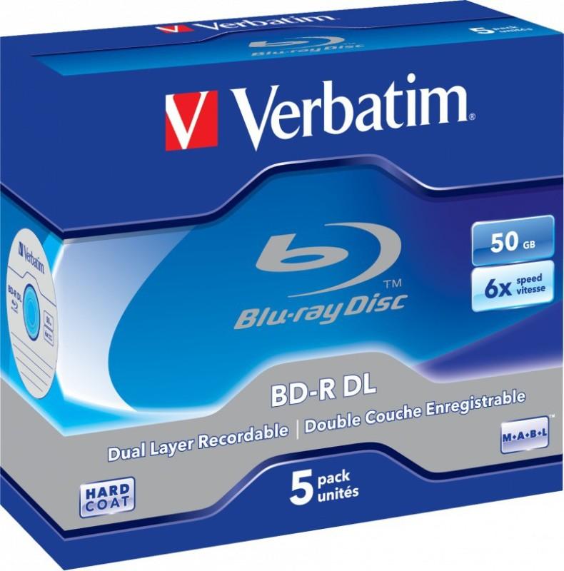 Verbatim Blu-ray Recordable BD-R DL 50GB Jewel Case 5 Pack 50 GB