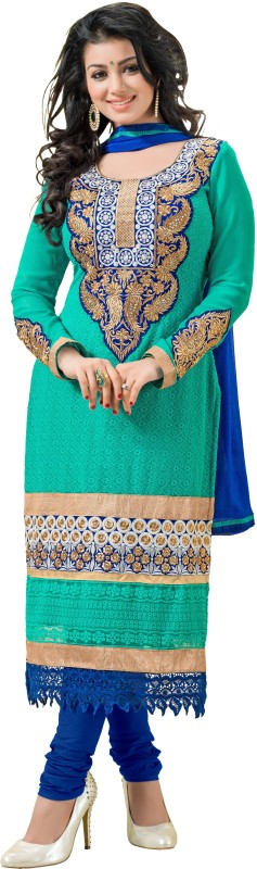 Blissta Poly Georgette Embroidered Kurta Fabric(Unstitched)