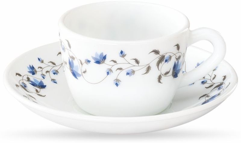 Borosil CUPS SAUCER SET Glass(White, Blue)
